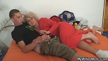 Naughty mother inlaw takes him