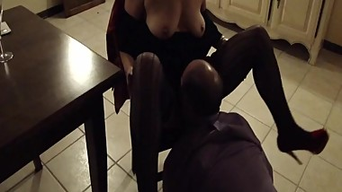 Mommy get licked on the chair