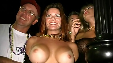 Heather Di and friend flashing tits and ass at Fantasy Fest 1999