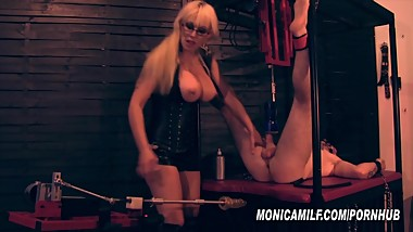 Femdom Slave get's machine pegged and fucked by Norwegian MonicaMilf