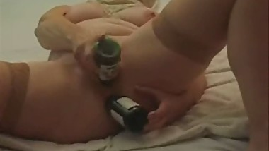 Stolen video of my busty mom having fun with 2 bottles