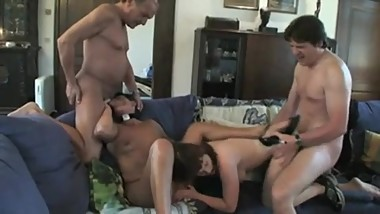 Horny Dad And Son Fuck Mom And GF