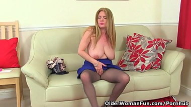 British milf Lily fucks herself with a dildo