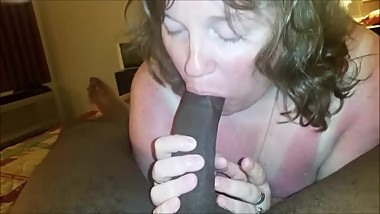 Horny wife sucking a BBC her hubby found