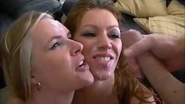 Milf 3some with double facial