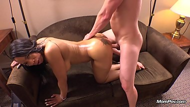 Black Milf does white cock