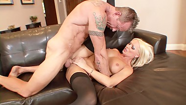 Naked big tits MILF Diana Doll waiting nude on the couch for her husband
