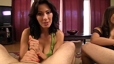 Zoey Holloway, Raylene - Brunette Sisters Have A Cranking Contest