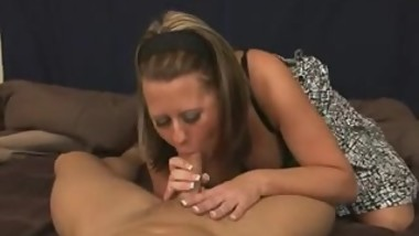 mom blows son before church - cum on mom tits