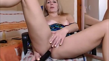 Hot blonde housewife masturbating