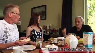 Japanese old women creampie Minnie Manga eats breakfast with John and