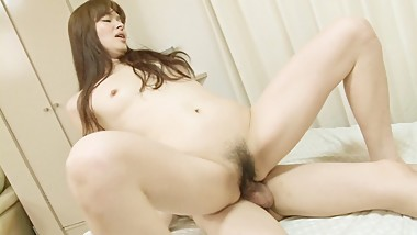 Japanese MILF secretary shows off her hairy pussy for sex