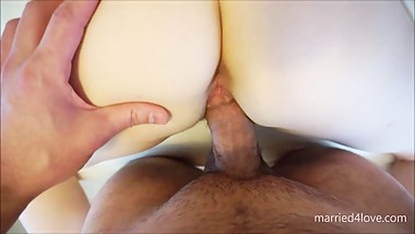 POV Doggy Style Bouncing Tits and Creampie
