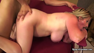 Fat granny gets pounded by stud