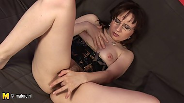 Horny hairy mature mom playing with herself