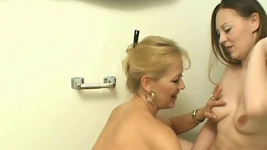 All-female bathroom dildo fun
