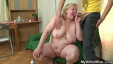 Granny gets banged by her son-in-law